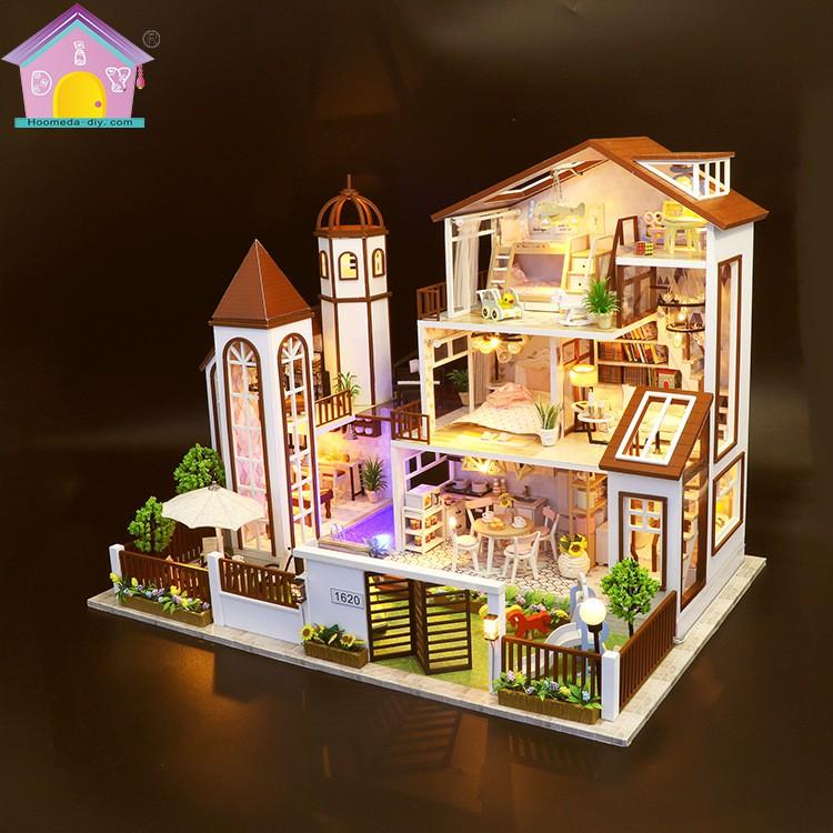Nhà búp bê Tự làm bằng gỗ [Nhà LOVE YOU ALL THE WAY có nội thất & đèn LED] Tặng CÓT NHẠC+ dụng cụ và 2 bình keo