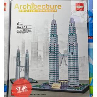 Lego DR.STAR 809 Lắp Ráp Tháp Đôi Petronas – Kuala Lumpur ( 1875 Mảnh )