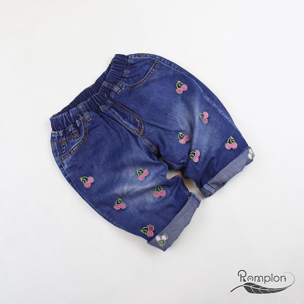 Quần Jean lửng bé gái, quần jean thêu lưng thun bé gái lớn 5-14 tuổi