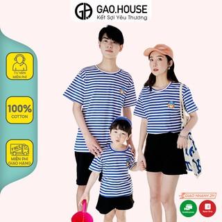 Áo gia đình hình gấu đội mũ Gạo House cotton 4 chiều cổ tròn kẻ ngang xanh thumbnail