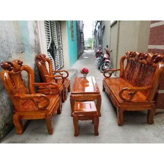Bộ bàn ghế minh quốc đào tay 10 gỗ xà cừ