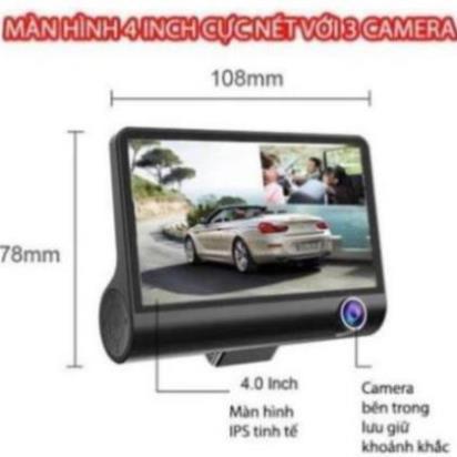 [MIỄN PHÍ GIAO HÀNG] Camera hành trình ô tô 3 mắt X005 4 inch fullHD 1080p,camera sau chống nước-BM31 - BẢO HÀNH 6 THÁNG
