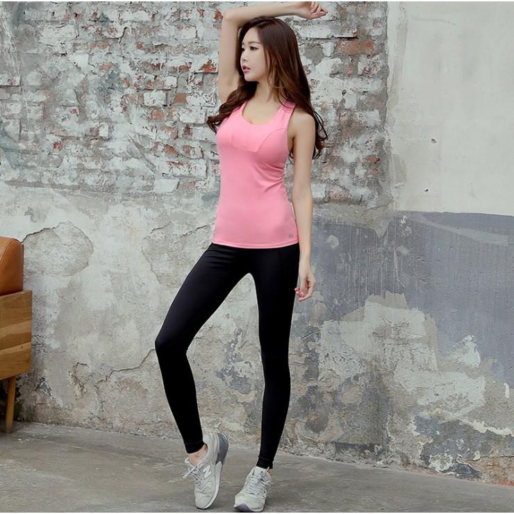 [ Mã FASHIONAPR4 hoàn 10% tối đa 50K xu đơn 300K] Bộ quần áo tập gym yoga LUXURY hàn quốc (có lót ngực) Hồng