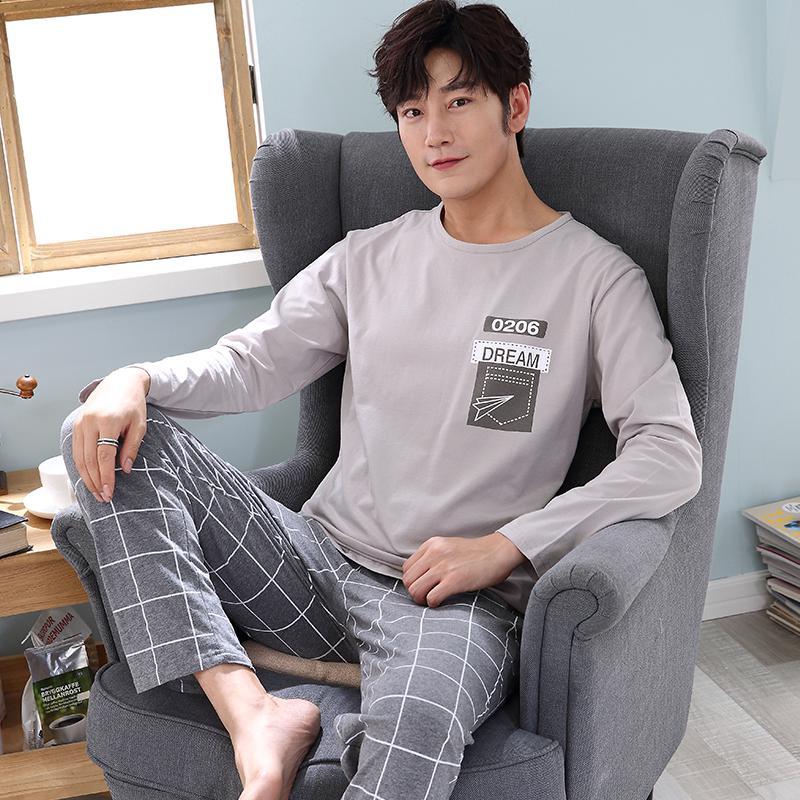 Bộ Đồ Ngủ Cotton Tay Dài Dáng Rộng Có Size Lớn Cho Nam