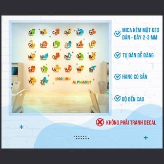 Tranh Dán Tường Mica 3D Bảng Chữ Cái Tiếng Anh Trang Trí Mầm Non, Mẫu Giáo, Phòng Cho Bé