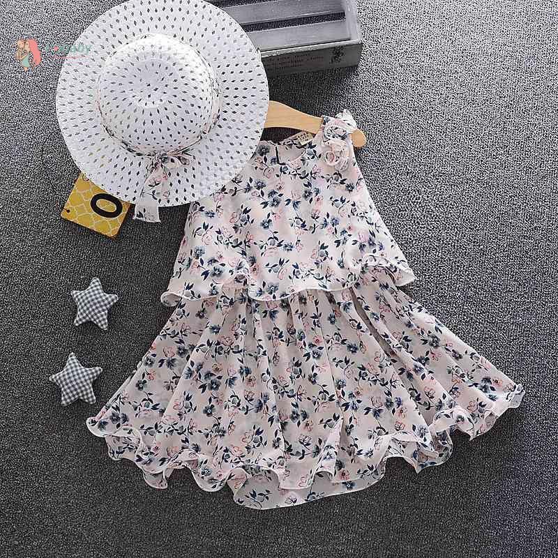 6301484668 - Bộ đầm mùa hè in họa tiết hoa xinh xắn kèm nón chống nắng cho bé gái