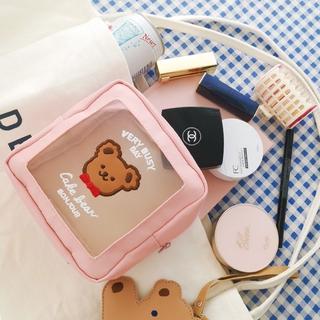 Túi đựng mỹ phẩm trang điểm thiết kế trong suốt có ngăn chứa lớn phong cách Hàn Quốc chất lượng cao thumbnail