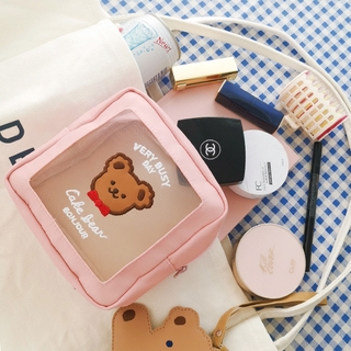 Korea Cute Large Capacity Transparent Cosmetic Bag Travel Portable Makeup Wash Storage Bag High Quality Pencil Case thumbnail