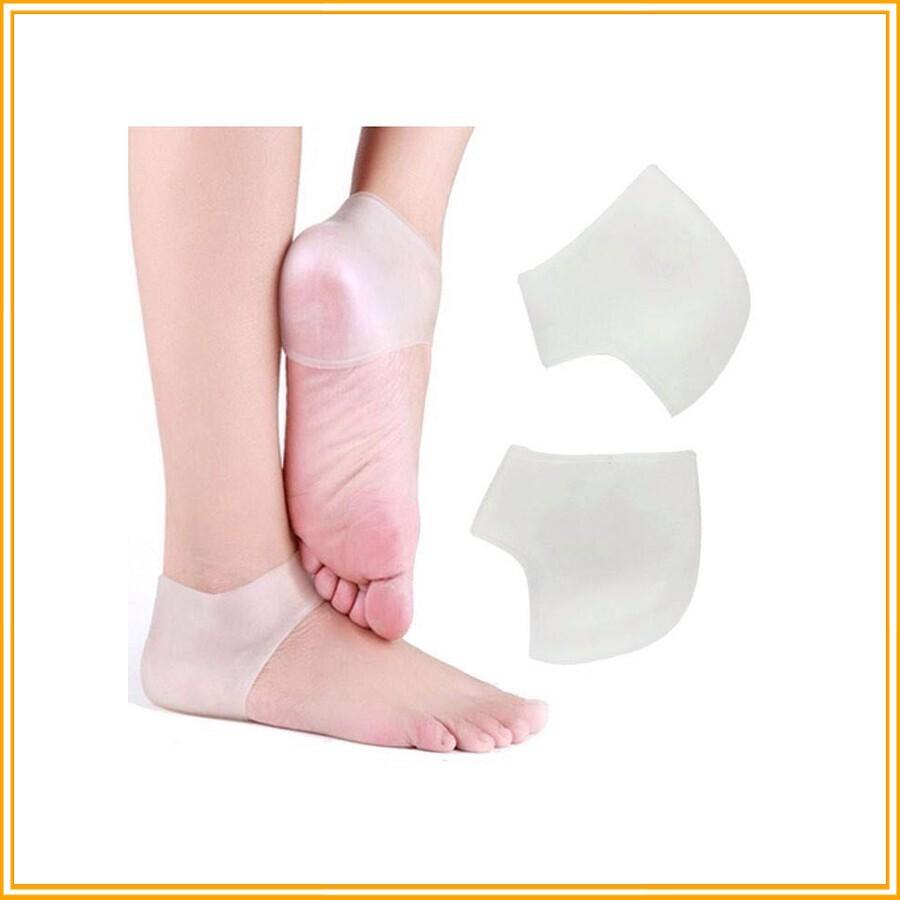 (KM Sốc)Combo 2 bộ miếng bảo vệ gót chân Silicon chống nứt gót - Màu Trắng (2 miếngbộ) hình dáng ôm trọn gót chấn