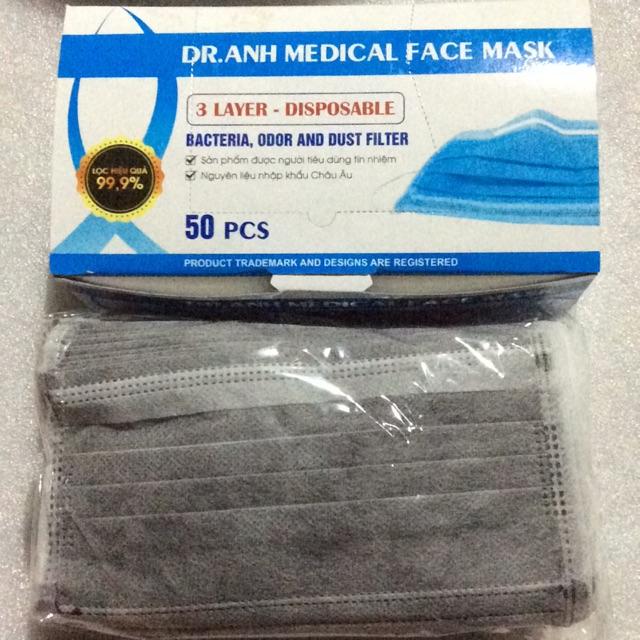 Khẩu trang than hoạt tính 3 lớp kháng khuẩn (50 cái)