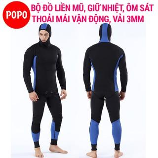 Bộ đồ lặn biển có sẵn mũ trùm đầu POPO vải dày 3mm giữ nhiệt ôm cơ thể thoải mái vận động thumbnail