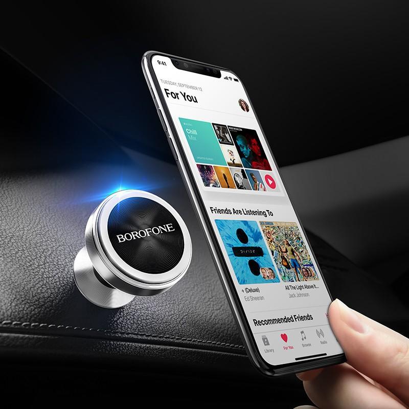 Giá đỡ nam châm trên xe hơi cho điện thoại Borofone BH5 - Hai màu đen , trắng