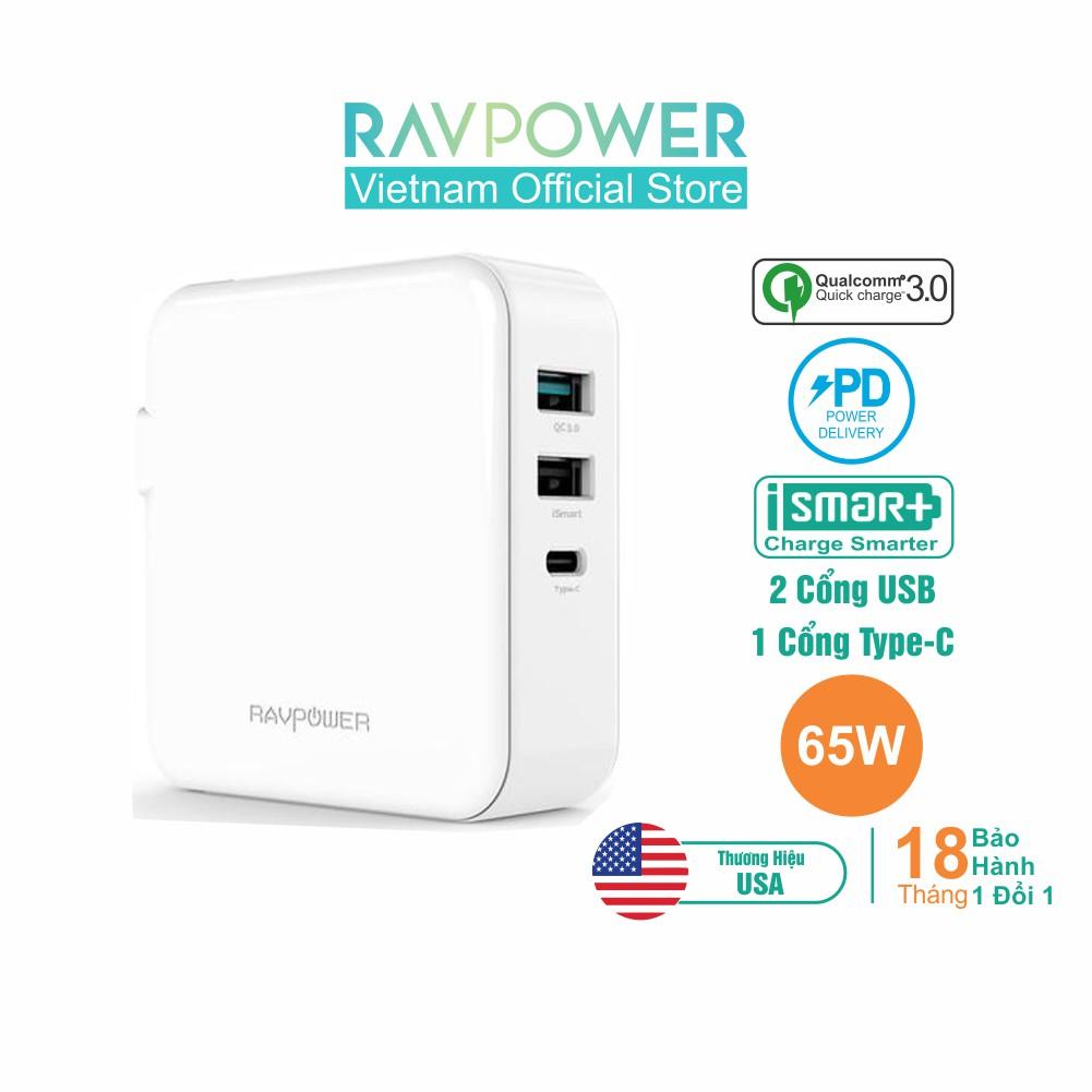 Củ Sạc RAVPower 65W iSmart, Quick Charge 3.0 18W, Sạc Nhanh PD 65W Type-C RP-