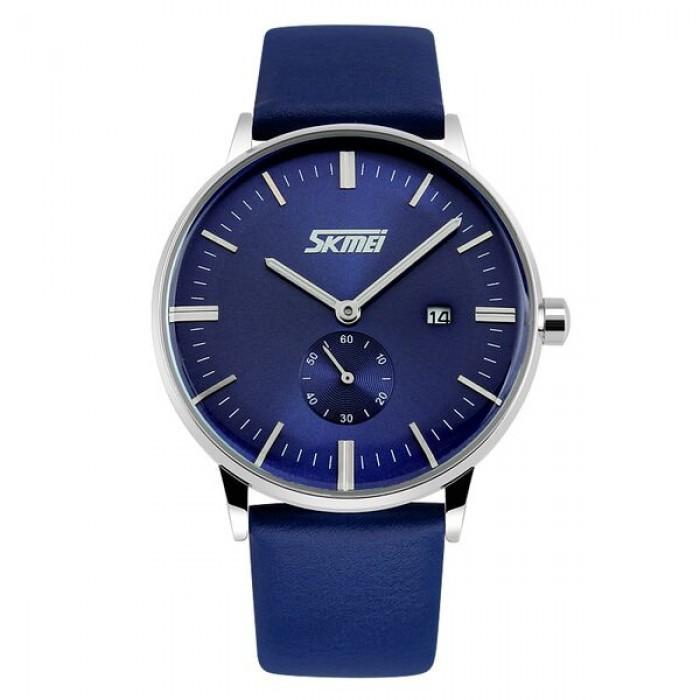 Đồng hồ nam Skmei dây da màu xanh dương