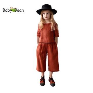 Đồ Bộ Đũi Tay Lỡ Quần Ống Rộng đính Hoa Hồng bé gái BabyBean thumbnail