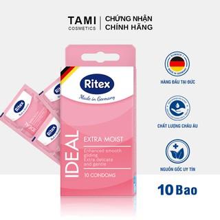 Bao cao su RITEX IDEAL Siêu ẩm ướt - Thêm gấp đôi chất bôi trơn Hàng đầu tại Đức [Hộp 10 chiếc] Có che tên RI-IDEAL10 thumbnail