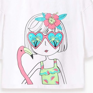 Áo bé gái - Cute Girl With Flamingo M.D.K