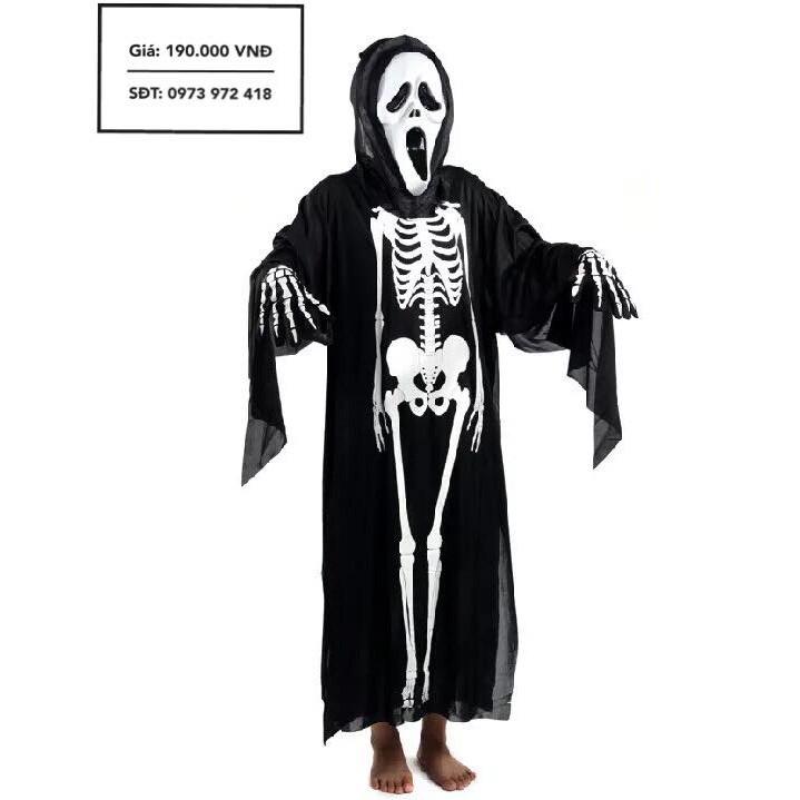 Bộ trang phục in hình xương (Trang phục + găng tay + mặt nạ)