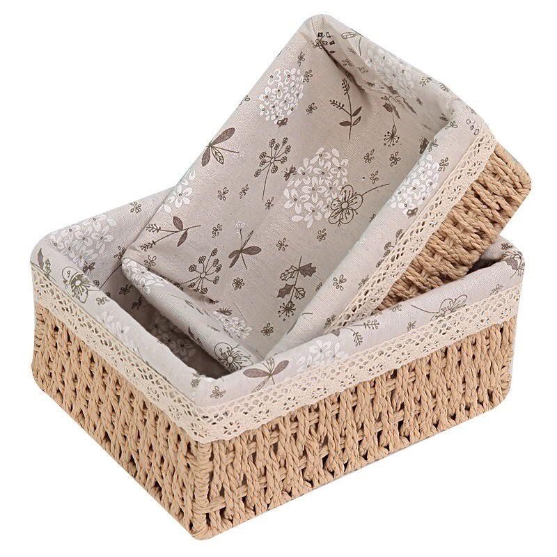 Giỏ mây lót vải vintage hình chữ nhật vintage, giỏ đi picnic, để bàn decor góc làm việc