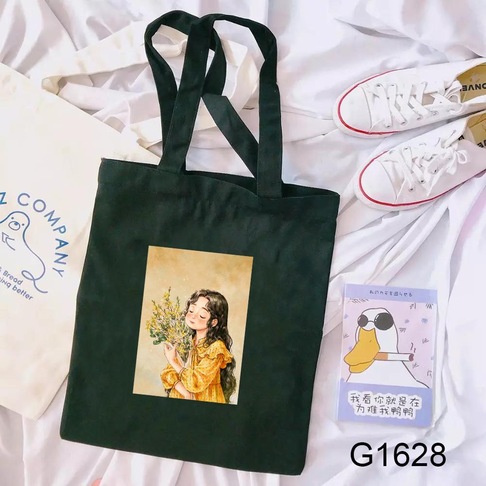 Túi xách tay/ đeo vai tote vải canvas họa tiết cô gái trong khu rừng đáng yêu dành cho học sinh nữ