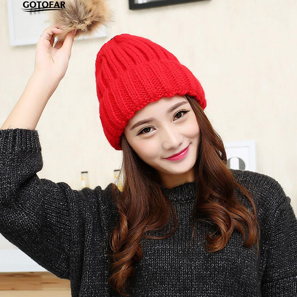 Fashion Warm Winter Knitted Beanie Elastic Large Pompom Top Hat Ski