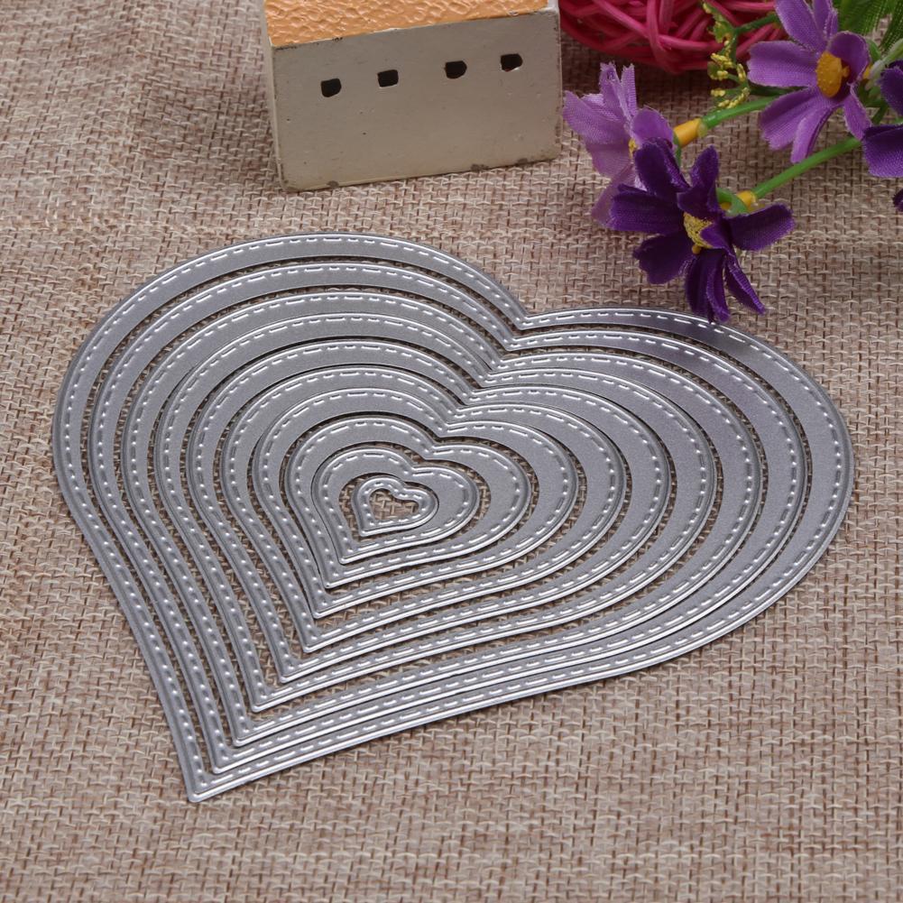10 khuôn cắt hình trái tim bằng kim loại làm thiệp diy tiện lợi