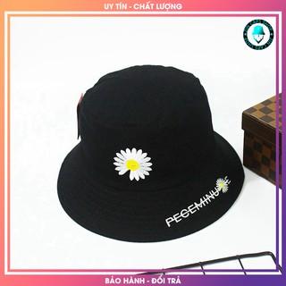 Mũ Bucket Đen Hoa Cúc 2 lớp vải Kaki / nón tai bèo / mu tai beo den / vành / non vanh / xô / xo