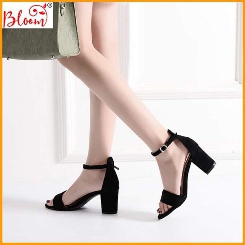 Giày cao gót nữ 7p đế vuông quai ngang kiểu dáng basic đẹp thời trang Giày sandal cao gót YUKIBLOOM