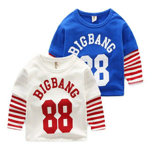 [MẪU MỚI] ÁO BIGBANG 88 KẺ TAY PHONG CÁCH THỂ THAO CHO BÉ TRAI/GÁI 8-18KG