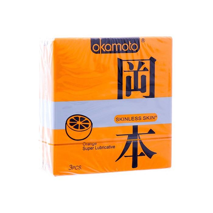 Hộp 3 BAO CAO SU AKAMOTO HƯƠNG CAM