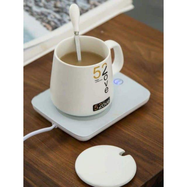 Máy hâm nóng đồ uống cho dân văn phòng tặng kèm thìa và cốc sứ