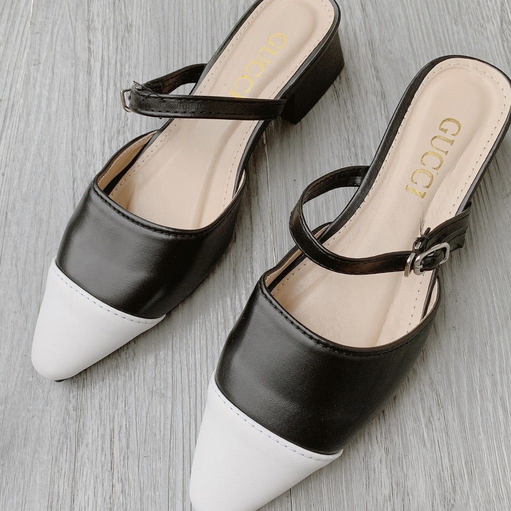 [GIÁ TẬN DIỆT] Giày sục pha màu đen trắng nữ tính