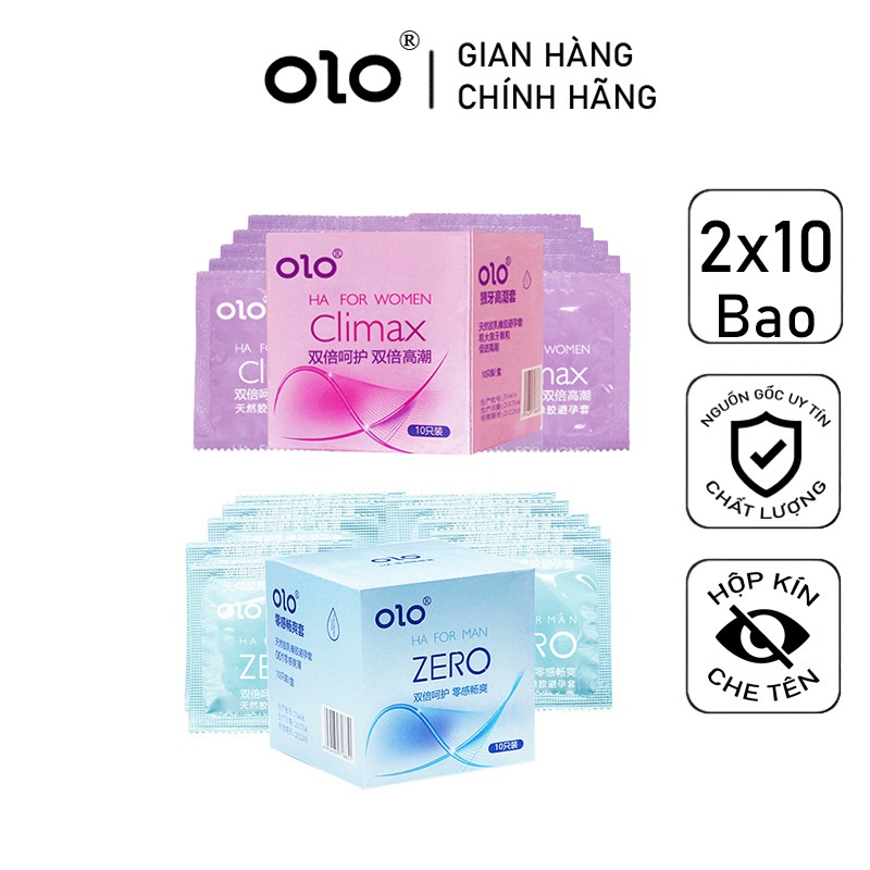 BCS Combo Bao Cao Su Siêu Mỏng ZERO và Bao Cao Su Gai Bi OLO 0 01 20 bcs