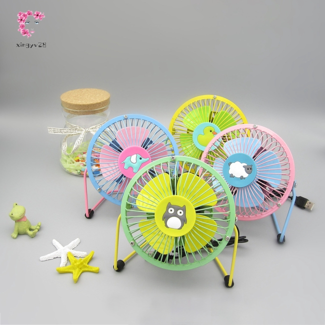 4Inches Mute Cartoon Pattern Iron USB Fan
