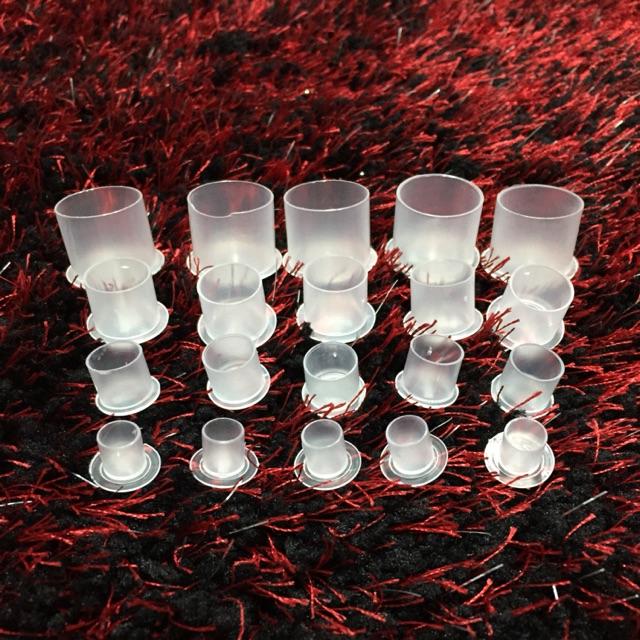 Hũ nhựa đựng mực có chân đế tổng hợp các size ,100 hũ/túi