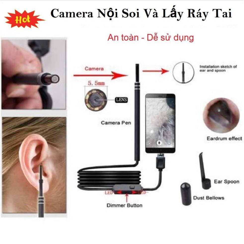 CHỌN NGAY Camera Nội Soi Tai Siêu Nét Đi Kèm Bộ Đầu Lấy Ráy, Soi Tai Mũi chuyên nghiệp