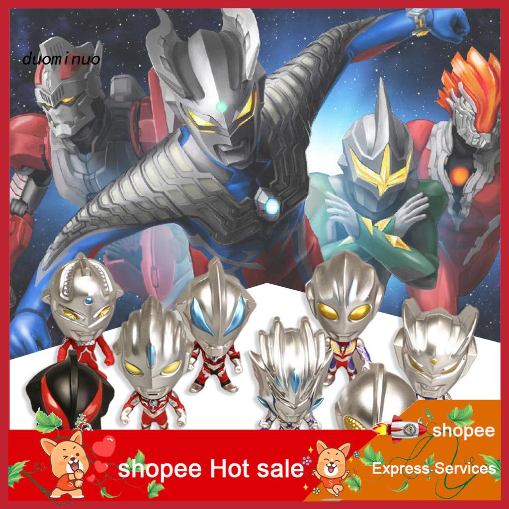 dnm 8Pcs Ornament Classic Toy PVC Ultramans VS Monsters Figure Action for Desktop