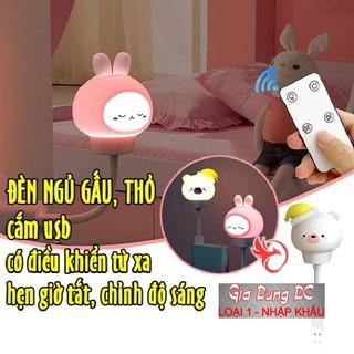 [Cam Kết Loại 1] (Có Điều Khiển) Đèn ngủ cắm USB hình thỏ gấu dễ thương