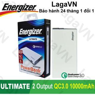 [Freeship toàn quốc từ 50k] Pin sạc dự phòng Energizer 10000mAh Li-Po 2 cổng Output Quick Charge 3.0 - UE10004QC (Trắng)