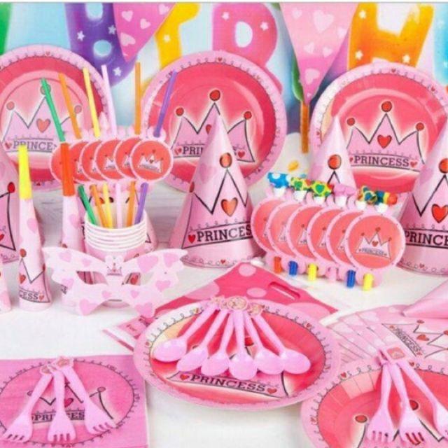 Set trang trí bàn tiệc bé gái (đầy đủ 65 món)