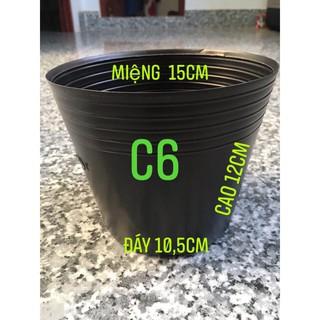 [Combo 50 cái] chậu nhựa đen C6 mềm dẻo trồng cây nhỏ, ươm cây con KT: 15×10.5x12cm