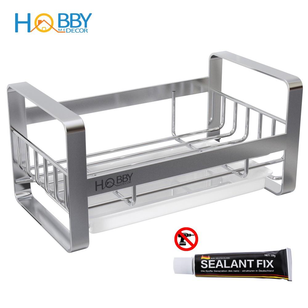 Kệ rổ đựng dụng cụ rửa chén Inox 304 Hobby KRC1 dán lên tường hoặc kê lên bồn chậu rửa - có sẵn keo dán