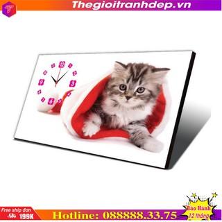 Đồng hồ để bàn đồng hồ bàn in hình mèo con dễ thương