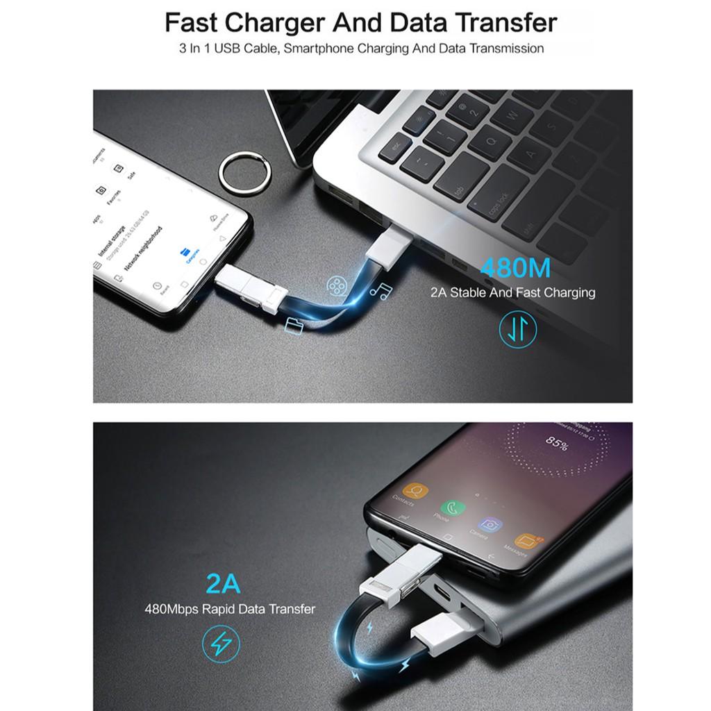 Dây Cáp Sạc Nhanh Kiêm Móc Khóa 3 Trong 1 Cho Iphone X Xr Xs Max 6 6s 7 8 Plus 5 Android