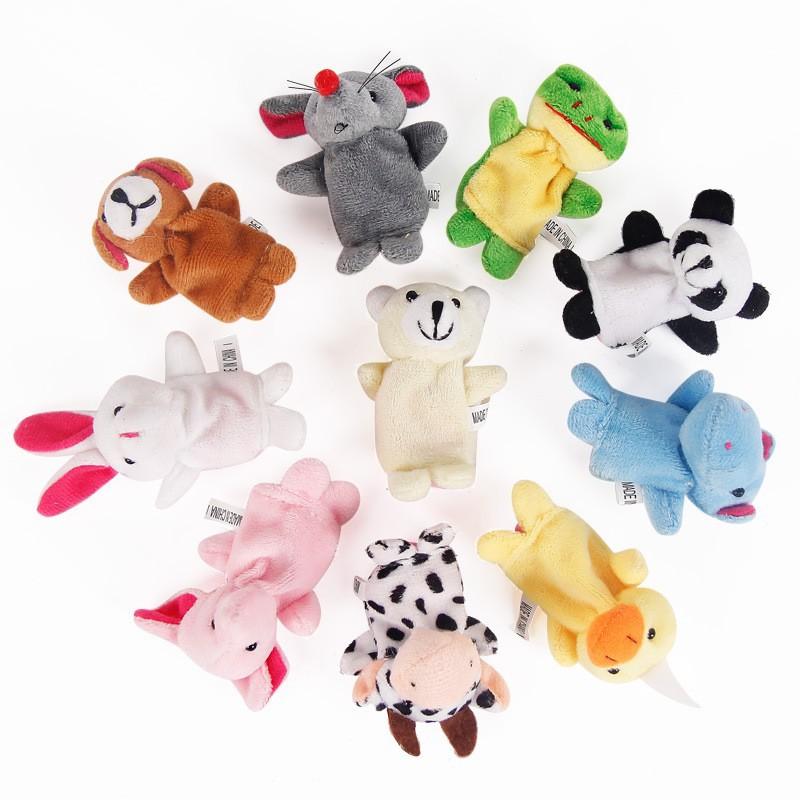 Set 10 con rối bằng vải nhung đeo ngón tay kiểu dáng động vật dễ thương cho bé