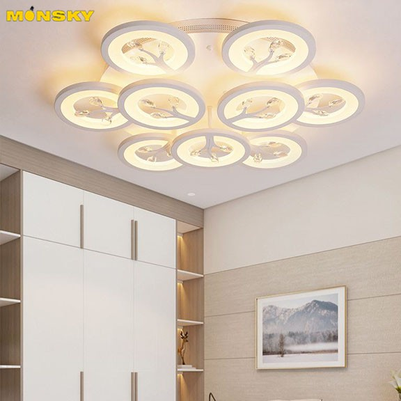 Đèn trần MONSKY VIPART sang trọng với 3 chế độ ánh sáng trang trí nhà cửa hiện đại - kèm điều khiển từ xa - (137).
