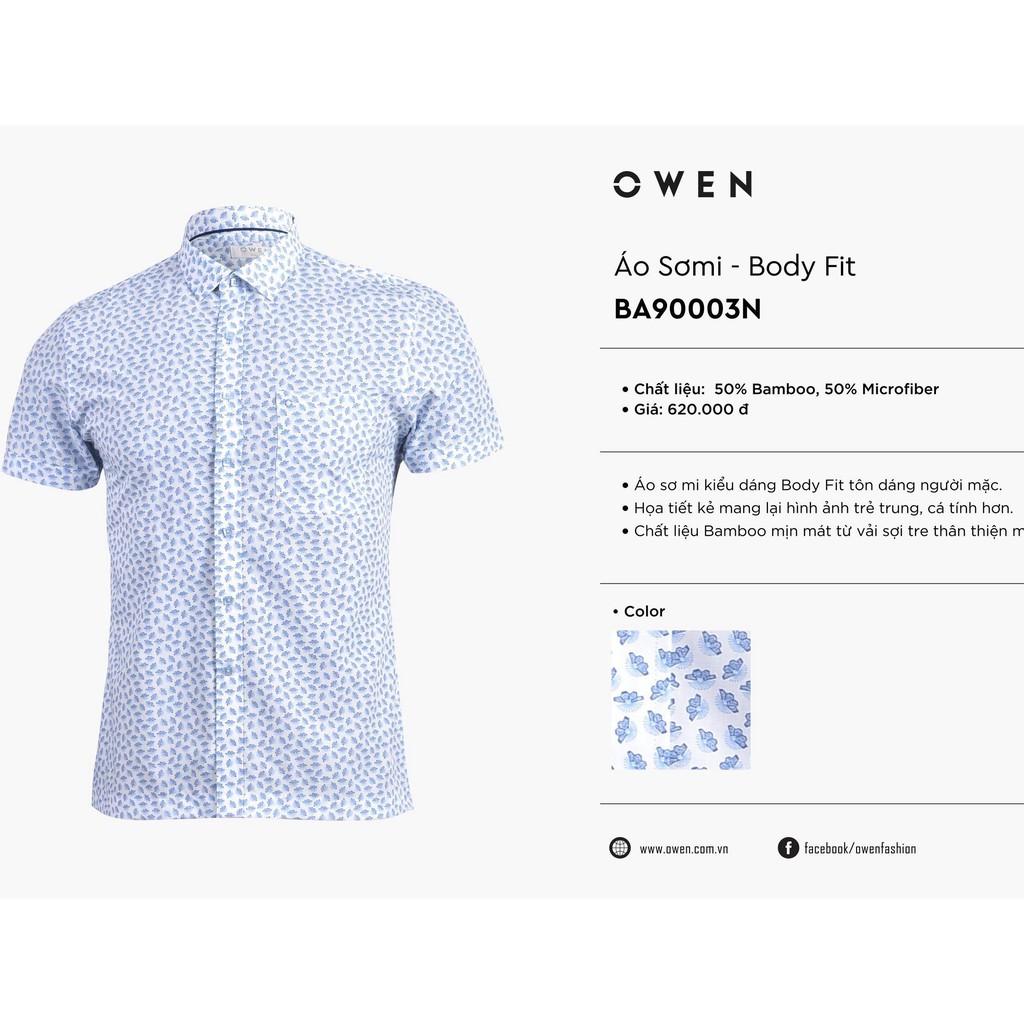 OWEN - Áo Sơ mi ngắn tay Owen chất sợi tre BA90003 - Áo sơ mi nam ngắn tay