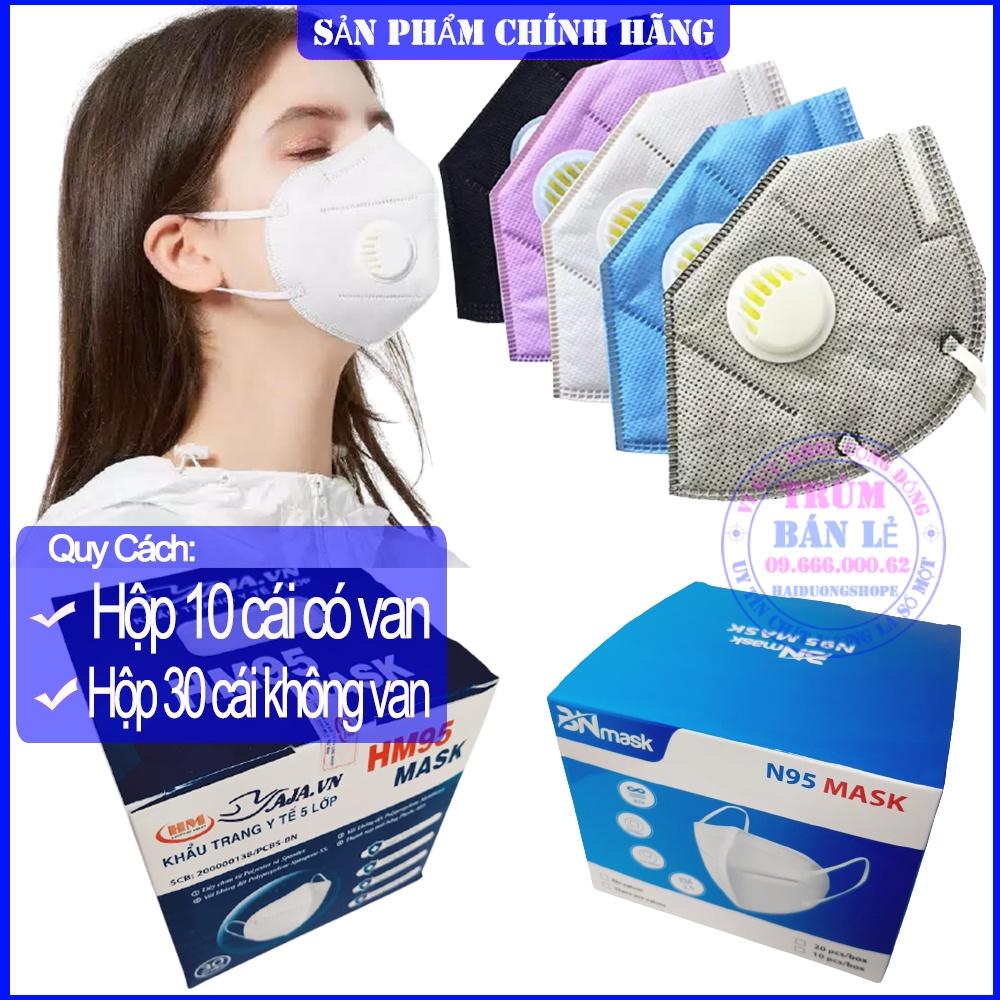[Hộp 10 Cái] Khẩu trang N95 KN95 chống bụi mịn PM2.5 Có Van. Kháng khuẩn cao cấp 3D 4D TW95 XL Mask Y Tế TT CT LAND DC