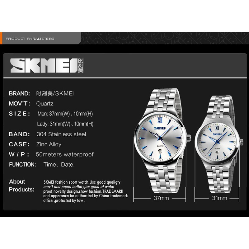 Đồng Hồ Kim SKMEI 9071 Cho Cặp Đôi Thời Trang Kiểu Máy Thạch Anh Bằng Thép Không Gỉ
