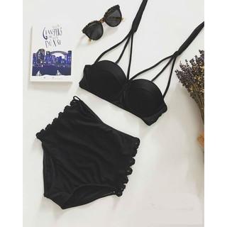 Bikini hai mảnh đen chất thun lạnh mặc đi biển đẹp ( áo 3 dây)